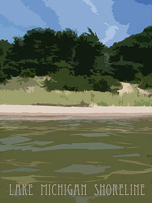 Digital Art - Lake Michigan Shoreline - Beach by Michelle Calkins