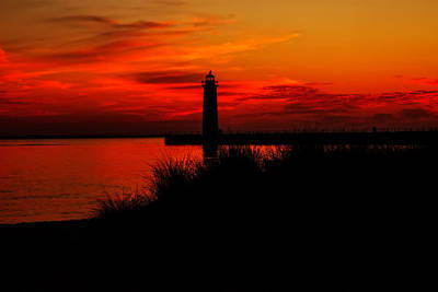 Muskegon Lighthouse Wall Art - Photograph - Lake Michigan Summer Night by Emily Kay