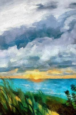 Majestic Seascapes Painting - Lake Michigan Sunset by Michelle Calkins