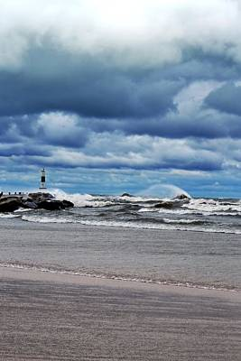 Lake Michigan With Big Wind  Art Print by Michelle Calkins