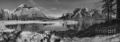 Photograph - Lake Minnewanka In Black And White by Adam Jewell