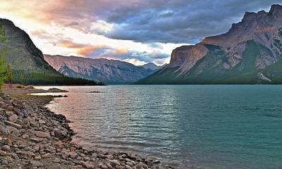 Photograph - Lake Minnewanka Sunset by Frozen in Time Fine Art Photography