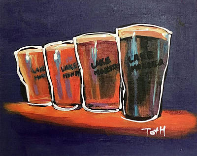 Growler Painting - Lake Monster by Laura Toth