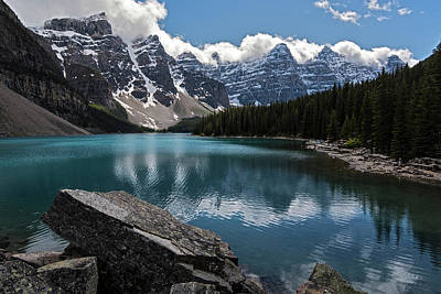 Photograph - Lake Moraine Canada Rocks by Dave Dilli