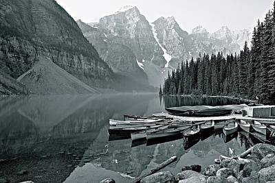 Photograph - Lake Moraine Grayscale by Frozen in Time Fine Art Photography