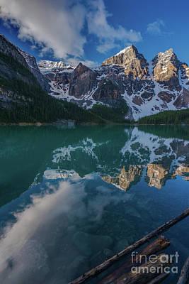 Photograph - Lake Moraine Peaks Reflection by Mike Reid