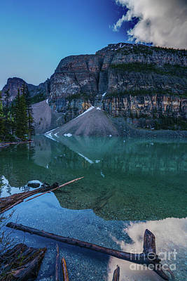 Photograph - Lake Moraine Reflection Logscape by Mike Reid