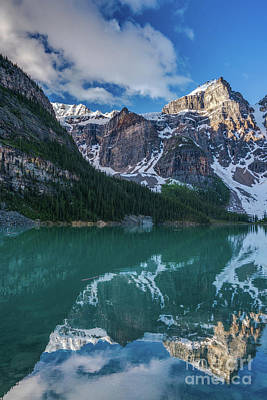 Photograph - Lake Moraine Valley Of The Ten Peaks Reflection by Mike Reid