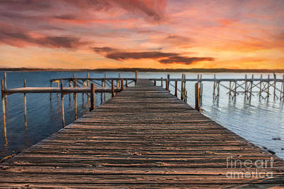 Lake Murray Lodge Pier At Sunrise Landscape Art Print by Tamyra Ayles