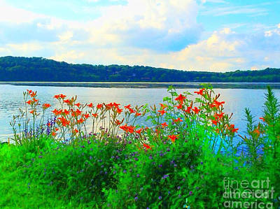 Photograph - Lake Muscenetcong And Wild Flowers 1 In Netcong New Jersey by Becky Lupe