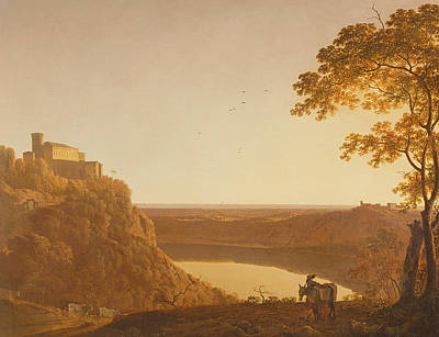Tree At Sunset Painting - Lake Nemi At Sunset by Joseph Wright of Derby
