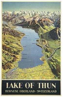 Landscapes Royalty-Free and Rights-Managed Images - Lake of Thun, Switzerland - Vintage Travel Poster - Landscape Illustration by Studio Grafiikka
