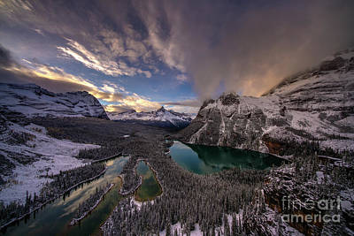 Photograph - Lake Ohara Sunset Winterscape From Opabin Prospect by Mike Reid