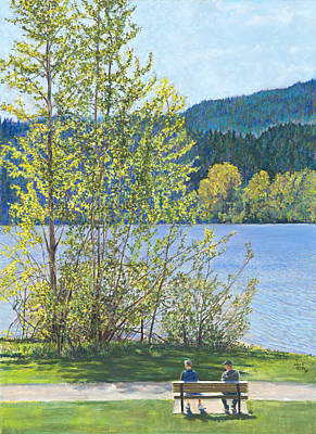 Painting - Lake Padden-memorial Bench Of Art And Stacia Christopher by Nick Payne