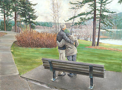 Painting - Lake Padden-memorial Bench Of Reg Bratz by Nick Payne