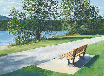 Painting - Lake Padden Series - Memorial Bench Of Andrew Phillip Jones by Nick Payne