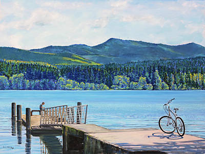 Painting - Lake Padden-view From The Memorial Bench Of Mildred Hottle And Jeffery Myers by Nick Payne