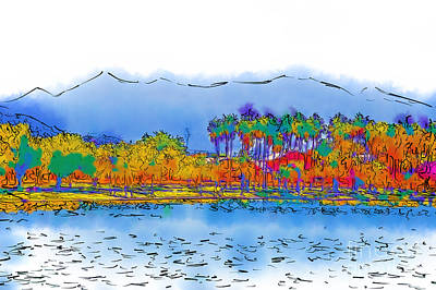 Digital Art - Lake, Palms And Mountains In Subtle Abstract by Kirt Tisdale