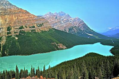 Photograph - Lake Peyto In Alberta by Frozen in Time Fine Art Photography