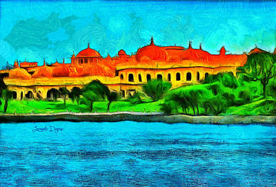 Olive Painting - Lake Pichola by Leonardo Digenio