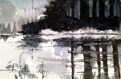 Painting - Lake Placid Black And White Study by Charlie Spear