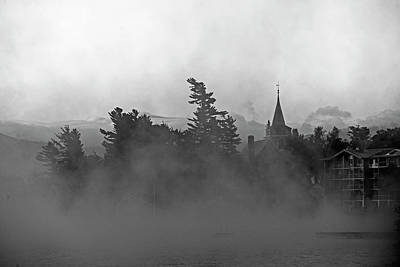 Photograph - Lake Placid Community Church Shrouded In Fog Black And White by Toby McGuire