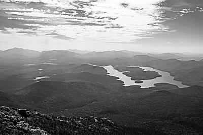 Photograph - Lake Placid From Whiteface Mountain Adirondacks Upstate New York Wilmington Black And White by Toby McGuire