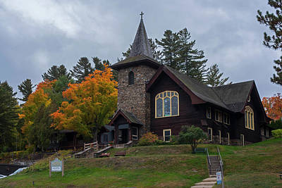 Photograph - Lake Placid Ny Church In Autumn New York by Toby McGuire