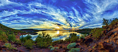Digitally Manipulated Photograph - Lake Pleasant Sunset 3 by ABeautifulSky Photography by Bill Caldwell