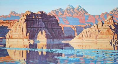 Painting - Lake Powell From Shore  by Allen Kerns