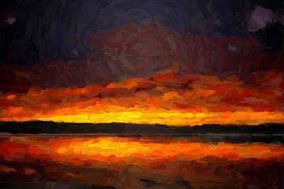 Digital Art - Lake Powell Sunset by David Hansen