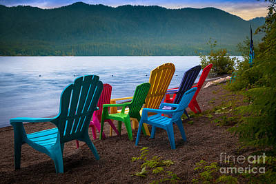 Northwest Photograph - Lake Quinault Chairs by Inge Johnsson
