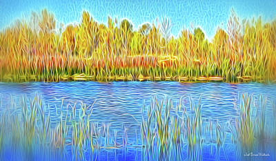 Digital Art - Lake Reeds In Stillness by Joel Bruce Wallach