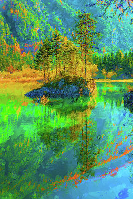 Digital Art - Lake Reflection by MS  Fineart Creations