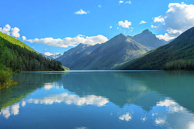 Photograph - Lake Reflections. Altai Mountains by Victor Kovchin
