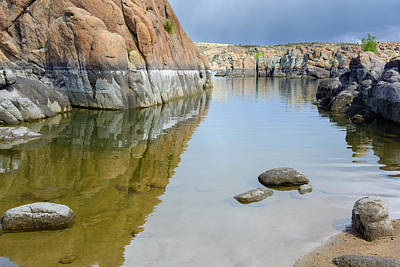 Lake Reflections At Granite Dells Art Print by Daniel Dean