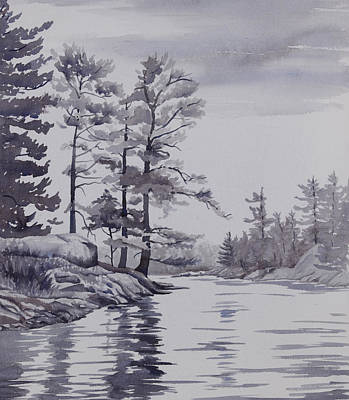 Painting - Lake Reflections Monochrome by Debbie Homewood