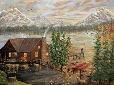 Deer Painting - Lake Retreat by Ken Figurski