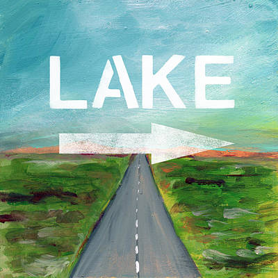 Lake Road- Art By Linda Woods Art Print by Linda Woods
