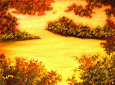 Charcoal Mixed Media - Lake Scene In Serat Style Painting by Debra Lynch
