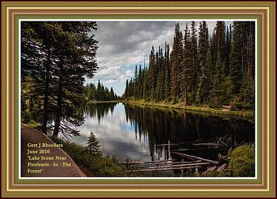 Christmas Christopher And Amanda Elwell - Lake Scene Near Pinehurst- In- The- Forest. L A With Decorative Ornate Printed Frame. by Gert J Rheeders
