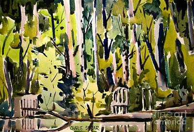 Painting - Lake Scrim Backdrop Framed Complete by Charlie Spear