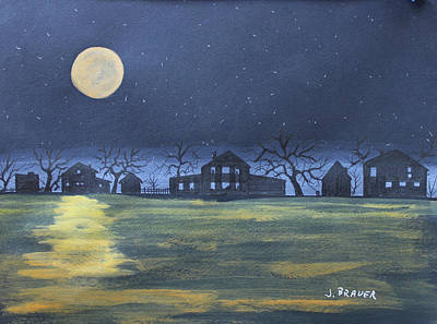 Painting - Lake Shore Moon Up by Jack G Brauer