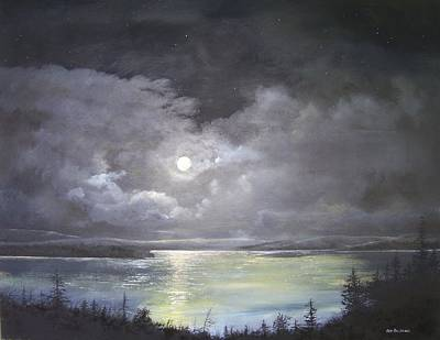 Lake Shore Moonscape  Art Print by Ken Ahlering