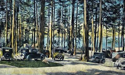 Lake Shore Park - Gilford N H Art Print by Mim White