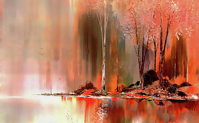 Mixed Media - Lake Side by John Winner