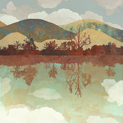 Abstract Landscape Digital Art - Lake Side by Spacefrog Designs