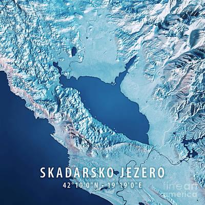 Lake Skadar 3d Render Satellite View Topographic Map Blue Art Print by Frank Ramspott