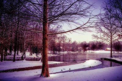 Photograph - Lake Snow - Winter Landscape by Barry Jones