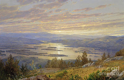 Rising Sun Painting - Lake Squam From Red Hill, 1874 by William Trost Richards